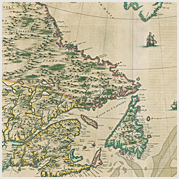 Detail of an early map of New France.