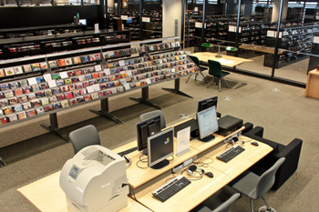 High-angle shot of the national music collection. View of the multimedia workstations and the CD section.