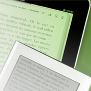 A tablet and an e-reader each displaying the text of an e-book.